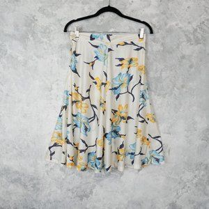 Vintage Watercolor Floral White Skirt